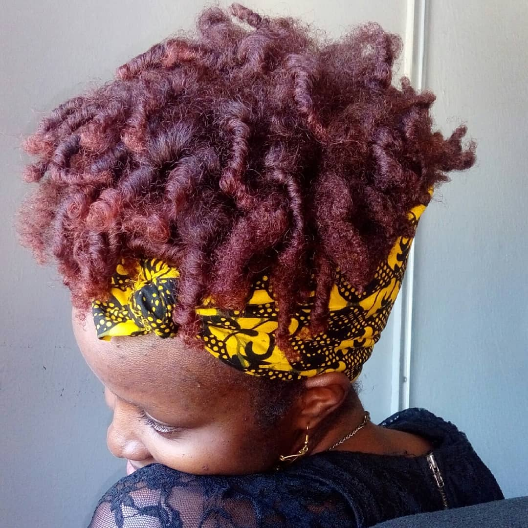 Flexirod set on burgundy colored type 4 natural hair