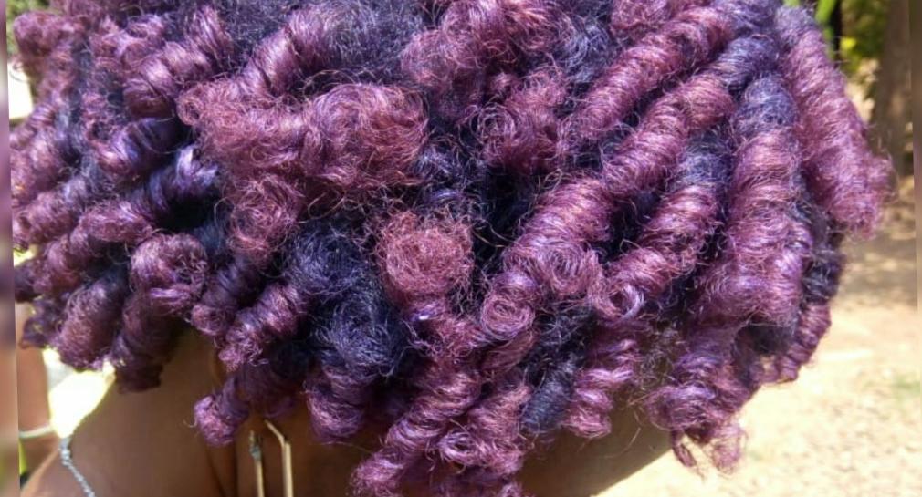 Temporary purple natural hair using Mofajang hair color wax