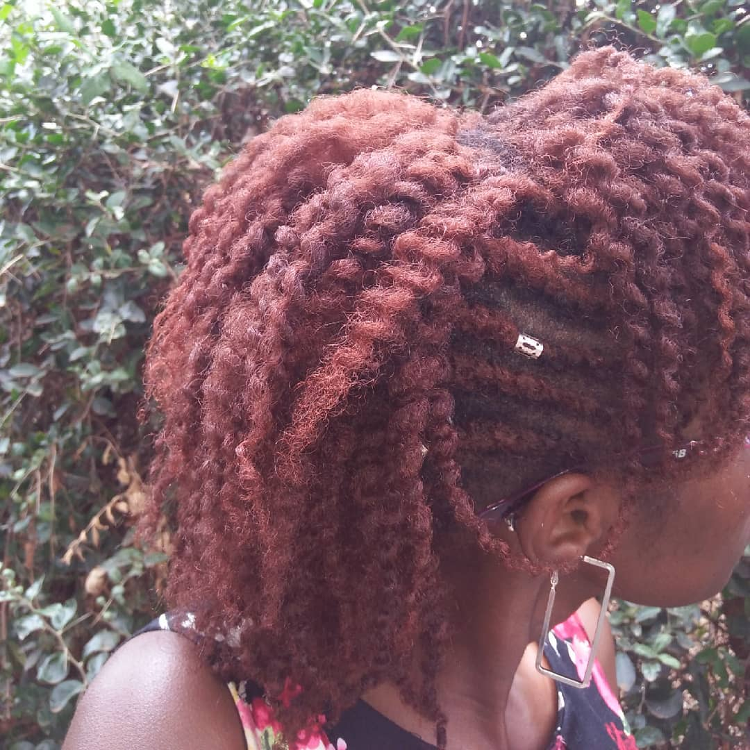 Twist out done on stretched type 4 natural hair without using any product