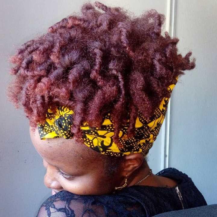 Flexirod Set on burgundy natural type 4 hair